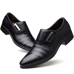 Discount formal shoes patterns - 2018 Men Shoes Solid Pattern Men Formal Shoes PU Leather Luxury Fashion Groom Wedding Oxford Dress Size 38-48