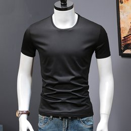Mens Plus Size Silk Shirts Canada - Summer Mens T Shirts Ice Silk Cotton Black White Gray Man's Casual Short Sleeve T-shirts Male Brand Tops Plus Size Tee Shirts Y190509