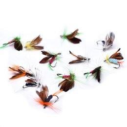 Feather Fishing Lures Australia - 12pcs lot Insect Fly Fishing Lures Artificial Fishing Feather Hooks Carp For Fishing Accessriose