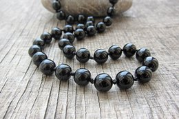 Yoga Mala Necklace Australia - Long Necklace 8MM Black onyx  Black Agate necklace Mens 20 inches knotted natural stone pray yoga Mala beads
