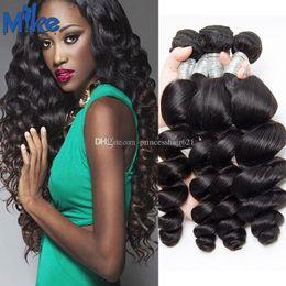$enCountryForm.capitalKeyWord Canada - MikeHAIR Brazilian Loose Wave Human Hair Bundles Unprocessed Original Human Hair Weaves 4Pcs Peruvian Malaysian Indian Hair Extensions Wefts