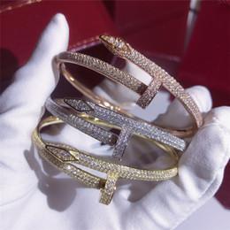 Di lusso Iced Out Bling Zircone cubico Hip Hop Rosa oro argento Braccialetti per unghie Braccialetti a punta Regali per le donne degli uomini