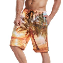Discount wide leg orange pants Mens Summer Beach Shorts Hawaii Floral Printed Wide Leg Knee Length Shorts Board Quick Dry Drawstring Shorts Pants