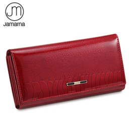 fishing wallets UK - Jamarna Women Wallet Fish Pattern Red Wallet Female Genuine Leather Clasps Coin Purse Soft Leather Card Holder Purse Clutch