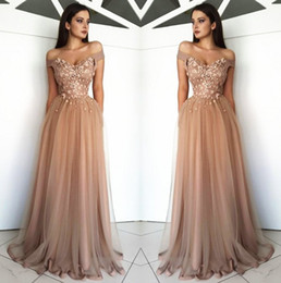 Wears off online shopping - Arabic Off The Shoulder Tulle Long Evening Dresses Lace Applique Beaded Sweep Train Formal Party Prom Wear Dresses BC0729