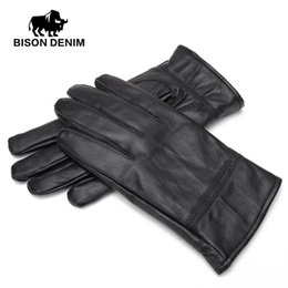 Men Gloves Leather Sheepskin Australia - BISON DENIM Men Winter Warm Gloves Outdoors Sheepskin Genuine Leather Warm Black Leather Gloves For Men S003