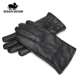 Leather Gloves For Men Australia - BISON DENIM Men Winter Warm Gloves Outdoors Sheepskin Genuine Leather Warm Black Leather Gloves For Men S003