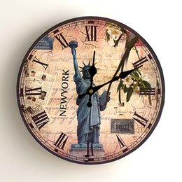 Antique round clock online shopping - Hand Made Wooden Quartz Wall Clock Statue Of Liberty Rose Flower Pattern Timepiece For Home Decorative Round Clocks Practical dy BB