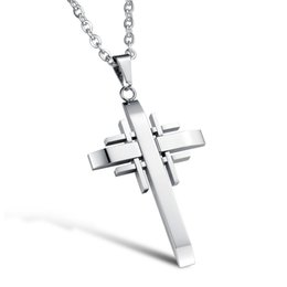Mens Love Pendant Necklace UK - Classical Cross Pendant Hip Hop Designer Jewelry Choker Iced Out Chains Mens Stainless Steel Jewelry Mens Necklace