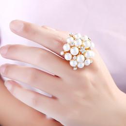$enCountryForm.capitalKeyWord Australia - Natural Tahitian Rhinestone Pearl Rings Luminous Glow Rings White Crystal Pearl for Women Mounting Rings Adjustable Mother's Day Gift