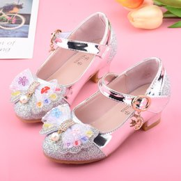 purple princess bedding NZ - Girls' Leather Shoes High Heels Princess Shoes Spring And Autumn 2019 New Style Big Boy Crystal Shoes Korean-style Bow Children