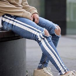 b8c6043a7c LITTHING Spring Men Jeans Pencil Pants Side Stripe Distressed Ripped Denim  Ankle Zipper Jeans Elastic Vintage Hole Hombre Z45