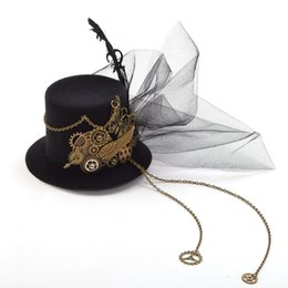 f9e8e3752512a clip Women Steampunk Fascinator Mini Top Hat Clip Punk Gothic Gear Wings  Clock Butterfly Decoration Headwear Hair Accessories