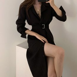 korea women party dress Canada - Sexy Soild Party Dresses Loose Sexy & Club Full Winter Dresses 2020 Club Long Sleeve Dress Korea Autumn Clothes Women Spring