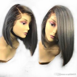 $enCountryForm.capitalKeyWord Australia - Ombre Grey Color Short Bob Wig Human Hair 1B Silver Silky Straight Indian Lace Front Human Hair Wigs With Baby Hair Remy Blunt