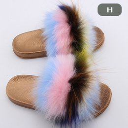 b7910f379 Real Raccoon Fur Slippers Fashion Style Furry Slides Soft Warm Big Fluffy  Fur Shoes Furry Slippers Women Shoes