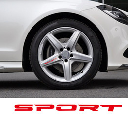 Discount car sticker racing sport - Black White Red 4pcs Set Sport Wheel Decal Sticker Sport Car Racing Vinyl Stickers For Mercedes Rims Wheel Logo