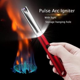 electronic bbq lighters UK - Arc Plasma Lighter Rechargeable with Safety Switch for Candle Kitchen Fireplace Pilot Light BBQ Stove USB Rechargeable Electronic Lighters
