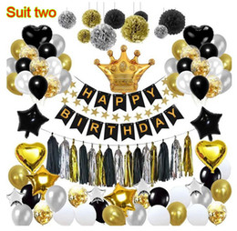 $enCountryForm.capitalKeyWord Australia - Black gold balloon pull flag birthday layout fish tail flag tassel paper flower ball five-pointed star balloon package decoration child