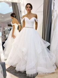 ivory caps best NZ - Best Designer Spring Country Wedding Dresses Cheap Aline With cap Sleeves Ruffles Tulle Skirt Bottom Wedding Dress Bridal Gowns New