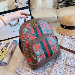 Patchwork Plaid Handbags Australia - 2019 luxury famous quality leather strawberry designer bags backpack handbag lady Backpacks Laptop Sac à main unisex men Women Towel 060303