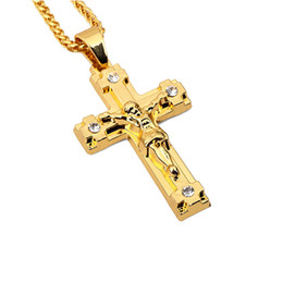 Fashion Jewelry For Men NZ - Mens Jewelry Jesus Cross Pendant Necklaces Fashion Rhinestone Punk Hip Hop 18K Gold Plated 75cm Long Chain Design For Men