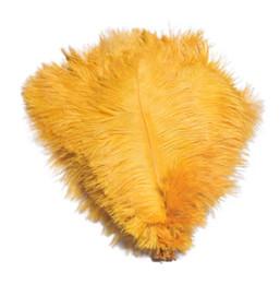 Discount feather centerpieces - Wholesale 100pcs lot 12-14inch(30-35cm) Gold ostrich feathers for Wedding centerpiece Table centerpieces Party Decoracti