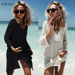crochet bikini dress NZ - 2019 New Hollow Knitting Tasseled Beach Cover-ups Bikini Crochet Knitted Summer Beachwear Swimsuit Cover Up Sexy See-through Y19060301
