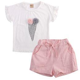 Girls Ice Cream Shirt Australia - 2019 New Arrivals Summer Kids Baby Girls Outfits set Ice cream floral Short Sleeve T-shirt Short belt Pants 2PCS Clothes Suit
