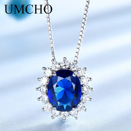 $enCountryForm.capitalKeyWord Australia - Umcho Princess Diana Necklace Pendant 925 Sterling Silver Jewelry Created Sapphire Necklace Wedding For Women Gift Fine Jewelry T190702