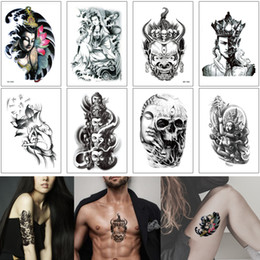 lotus flower designs NZ - Fake Black Buddha Temporary Tattoo Sticker for Woman Man Arm Sleeve Art DIY Lotus Flower Skull Design Temporary Tattoo Body Makeup Removable