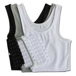 $enCountryForm.capitalKeyWord Australia - Les Lesbian Casual Breathable Buckle Short Chest Breast Binder Trans Vest Tops Plus Size S-4XL 5XL