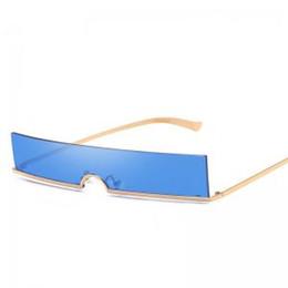 Mini pc Metal online shopping - Rimless Rectangular Metal Sunglasses Fashion Mini Sunglasses Ocean Piece Small Frame Eyewear European American colors LLA252