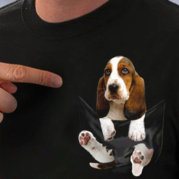 4a372c82 Basset Hound Inside Pocket T Shirt Dog Lovers Black Cotton Men S-6XL US  Supplier mens pride dark t shirt