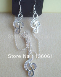 $enCountryForm.capitalKeyWord Australia - Vintage Silvers Music Note Sparkly Crystal Treble Clef Charm Necklace Earrings Jewelry Set For Women Dress Brand DIY Z650