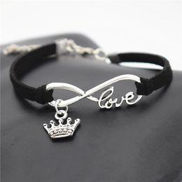 $enCountryForm.capitalKeyWord Australia - Handmade Black Leather Suede Cuff Bracelets Infinity Love King Crown Pendant Men Women Wristband Bracelet & Bangles New arrvial Gift Jewelry
