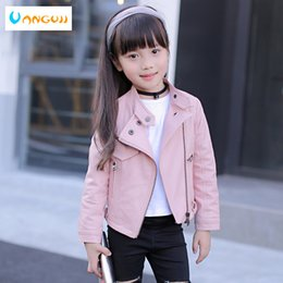 pink motorcycle jackets Australia - girls pu jacket rivet zipper cool jacket Leather clothing for girls 5-13 years oldClassic collar zipper leather motorcycle T190919
