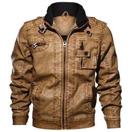 Pilot Motorcycle Jacket Australia - High Quality Military Jackets Men Outwear Tactical Bomber Jacket Winter Pilot Pu Motorcycle Leather Jacket Coats Dropshipping