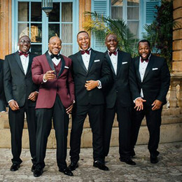 $enCountryForm.capitalKeyWord Australia - Slim Fit Men Suits for Wedding Burgundy Groom Tuxedos Dark Blue Groomsmen Blazer Mariage Party 2Piece Costume Homme Casual Trajes de Hombre