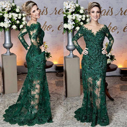 ladies party wear gowns sleeves 2019 - Elegant Dark Green Emerald Lace Appliques Long Sleeves Prom Dress Sheer Mermaid Prom Lady Event Party Wear Evening Maxi
