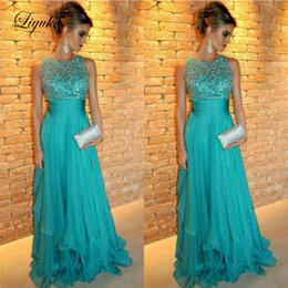 $enCountryForm.capitalKeyWord Australia - Turquoise O-Neck A Line Mother Of Bride Dresses Applique Tank Sleeve Floor Length Wedding Party Guest Evening Prom Gown Plus Size Liyuke