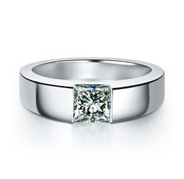 Platinum Plated Wedding Ring Sets Australia - High Quality Classic PT950 Stamp Fine 925 Sterling Silver Ring In Platinum Plated Wedding Ring 1.0CT Square Synthetic Diamond Rings For Male