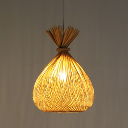 candy kitchen Australia - Hand Knitted Bamboo Pendant Light Candy Suspension Lamp Restaurant Hotel Bar Teahouse Bistro Izakaya Zen Wood Hanging Lighting