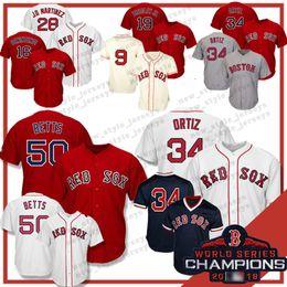 c27244e2c 34 50 Mookie Betts Boston Red 2019 Sox jersey 19 Jackie Bradley Jr 28 JD  Martinez 16 Andrew Benintendi Dustin Pedroia Baseball Jerseys