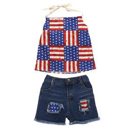 Jeans Shorts Girls UK - Independence Day Girl kids clothes Set Summer sling Tops + Denim shorts Jean 2PCS Sets Kids Designer Clothes Girls DHL JY368