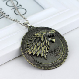 game thrones stark necklace Australia - 100pcs Game of Thrones necklace House Stark Winter Is Coming Metal Family Crest pendant jewelry souvenirs gift Maxi Wolf Punk Men by boomboo