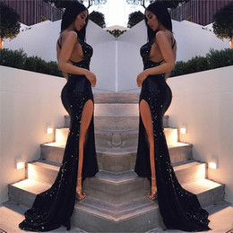 eye catching gowns UK - Eye Caught Sexy Black Girls Mermaid Prom Dresses 2020 High Split Side Formal Evening Gowns Black Girls Party Pageant Dress Cheap Sale