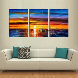 Leonid Afremov Canvas Prints Australia - Leonid Afremov : Sunset Boat -2,3 Pieces Home Decor HD Printed Modern Art Painting on Canvas (Unframed Framed)