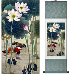 Chinese Water Painting Australia - Mandarin Duck And Water Lily Chinese Art Painting Home Office Decoration Ink Wash Paintingprinted Painting