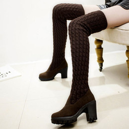 Boots Above Australia - bottine femme winter thigh high woman shoe womens booties shoes heels boots  female long space above brown heeled mid